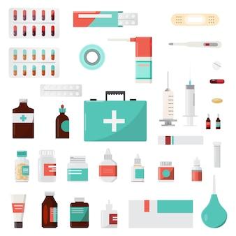 Satz von medizinflaschen, drogen und pillen, apotheke, drogerie