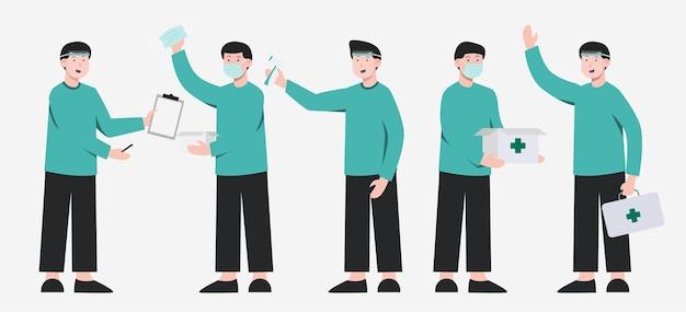 Satz von medizinischem personal mit schutz mit verschiedenen aktionen in der zeichentrickfigurensammlung, isolierte illustration