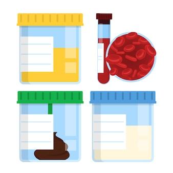 Satz von medizinischen behältern isoliert. sperma, urin, kot