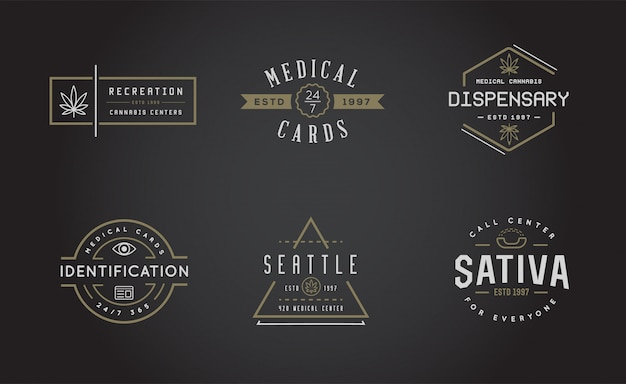 Satz von medizinischen cannabis-marihuana-zeichen oder etikettenvorlage in kann als logo verwendet werden.