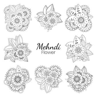 Satz von mehndi blume in ethnisch orientalischem stil gekritzel ornament umriss hand zeichnen illustration malbuch seite