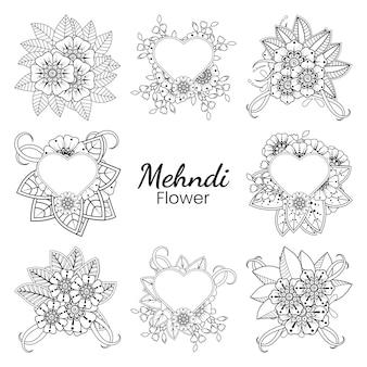 Satz von mehndi-blume in ethnisch orientalischer art gekritzelhand zeichnen illustration malbuchseite