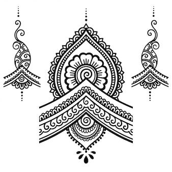 Satz von mehndi blumenmuster für henna zeichnung und tätowierung.