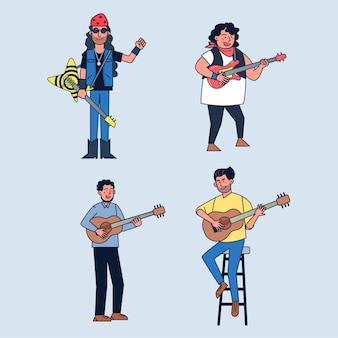 Satz von mehreren musikern, die gitarre spielen