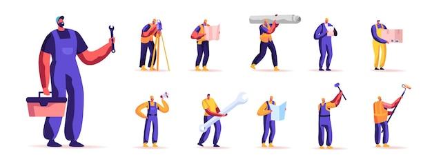 Satz von menschen arbeiter beruf