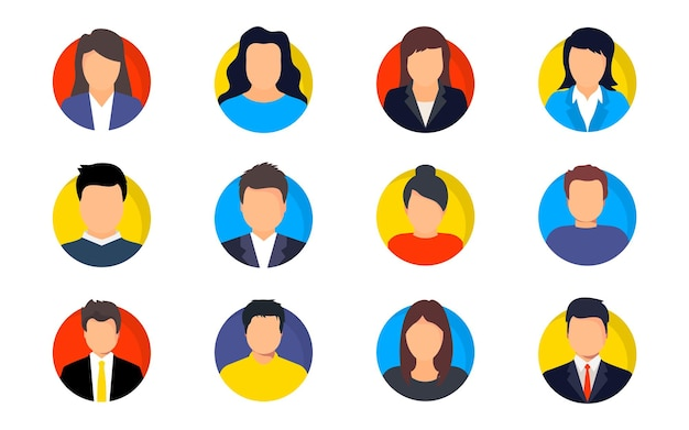 Satz von menschen-avatar-gesichtern. avatar-profil mann und frau. verschiedene menschliche gesichtssymbole für videospiele, internetforum, konto. benutzerbild, gesichtssymbole, bild zur darstellung des online-benutzers im sozialen netz