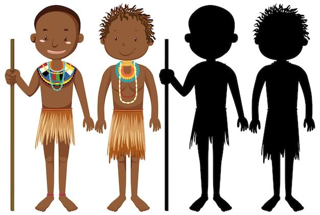Satz von menschen der afrikanischen stämme charakter mit seiner silhouette