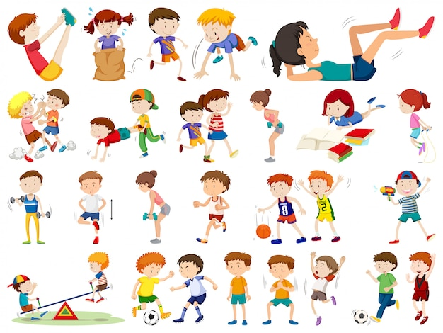 Satz von menschen, die sport treiben
