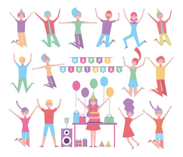 Satz von menschen feiern geburtstag zeichen
