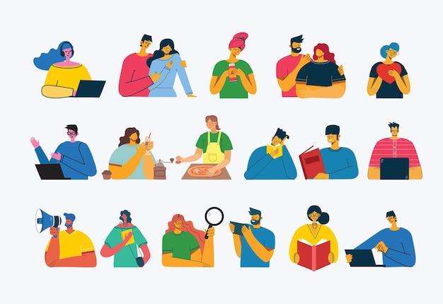 Satz von menschen, männer und frauen, familie mit kindern liest buch, arbeitet auf laptop