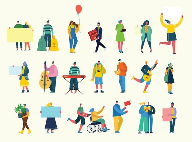 Satz von menschen, männern und frauen mit verschiedenen zeichen. grafikobjekte für collagen und illustrationen. flacher stil.