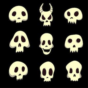Satz von menschlichen und tierischen schädeln. abbildung auf schwarz.