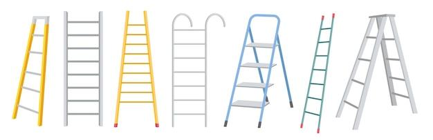 Satz von metallstufenleitern, treppenbau für renovierungsarbeiten, isoliert auf weißem hintergrund. haushaltswerkzeuge, tragbare metallische trittleitern in verschiedenen formen. cartoon-vektor-illustration