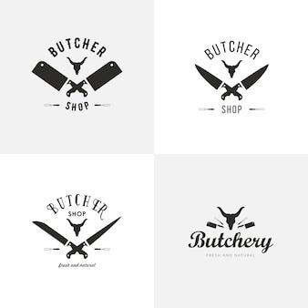 Satz von metzgerei-logo-vorlagen. metzgerei etiketten mit beispieltext. metzgerei design-elemente und nutztiere silhouetten für lebensmittel, fleischgeschäfte, verpackung und werbung.