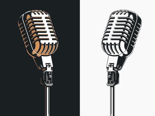 Satz von mikrofonen isoliert auf schwarz und weiß