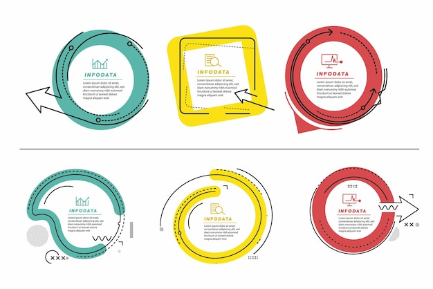 Satz von minimalem infografik-vorlagendesign-werbebanner, schriftrolle, aufkleber, abzeichen, preisschild, angebotsplakat.