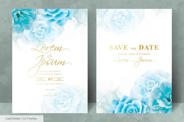 Satz von minimalistischen hochzeitseinladungskartenvorlage mit aquarell handgezeichneten blumen