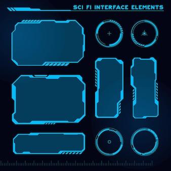 Satz von modernen sci-fi-elementen der benutzeroberfläche futuristisches abstraktes hud
