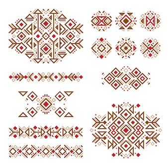 Satz von modischen mexikanischen aztekischen indianischen mustern navajo-elementen