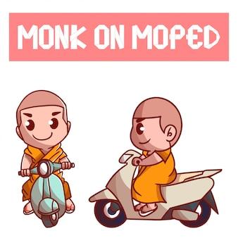 Satz von mönch auf moped charakter