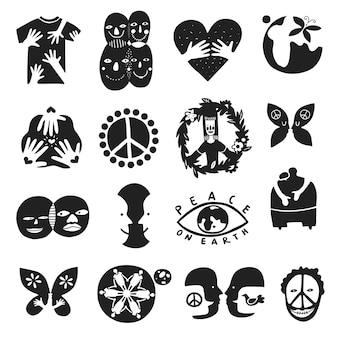 Satz von monochromen internationalen freundschaftssymbolen mit friedenszeichen, bruder, kinder der erde, gleichheit isolierte illustration