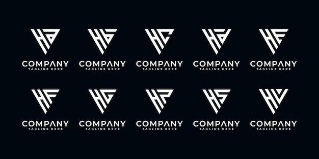 Satz von monogramm kreativen buchstaben h und usw. logo-vorlage. ikonen für luxusgeschäfte, elegant, einfach.