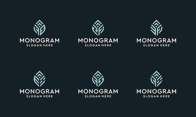 Satz von monogramm-logos für anfangs- und wachstumsbuchstaben. vektorprämie.