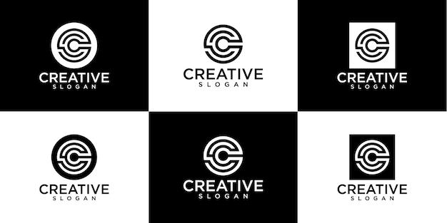 Satz von monogrammbuchstaben c logo design