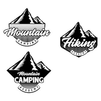 Satz von mountainbike- und campingclub-abzeichen. vektor