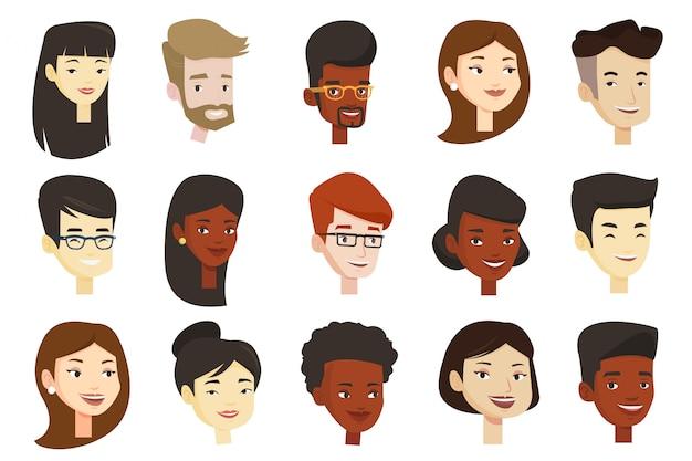 Satz von multikulturellen frauen und männern.
