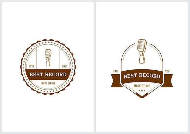 Satz von musics premium-abzeichen-logo-vorlage