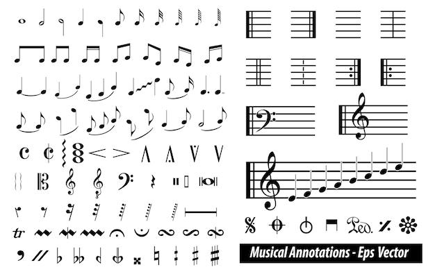Satz von musikalischen anmerkungen oder musiknotenelementkonzept.