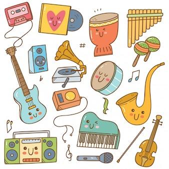 Satz von musikinstrumenten im doodle-stil