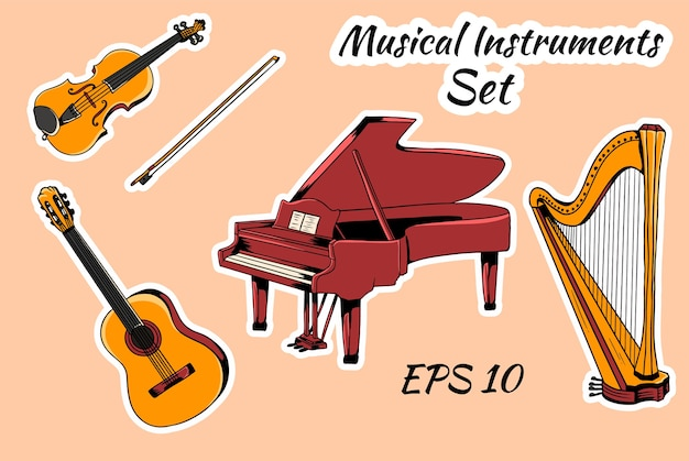 Satz von musikinstrumenten. saiteninstrumente set piano harp violine gitarre