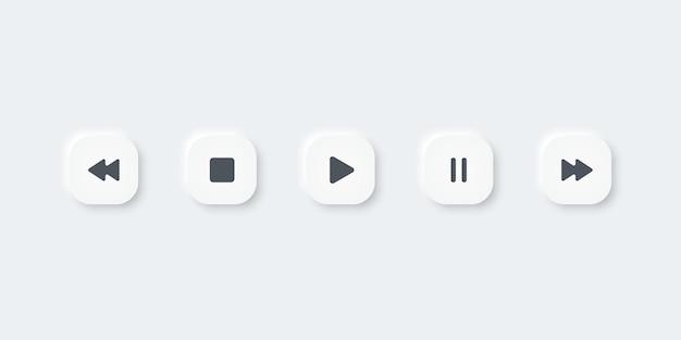 Satz von musikmedien-symbolen. spielen, pausieren, aufhören