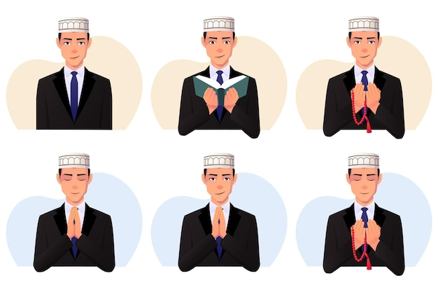 Satz von muslimischen mann, der einen schwarzen anzug und einen taqiyah-hut trägt