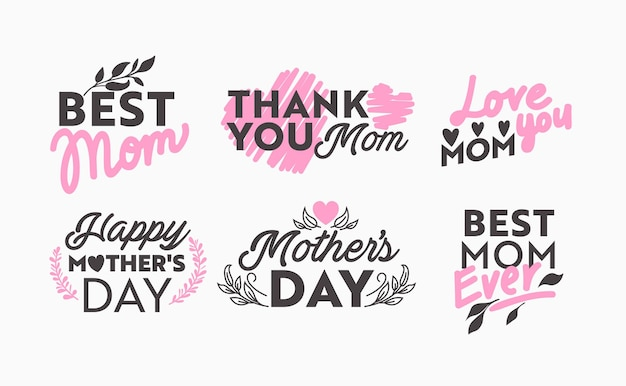 Satz von muttertag-icons mit typografie und floralen design-elementen isoliert auf weißem hintergrund. beste mama, ich liebe dich, danke, beste mama aller zeiten. vektorillustration