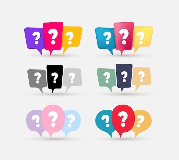 Satz von nachrichtenboxen mit fragezeichen-symbol. chat, chatbox, faq, hilfe, nachricht, sprechblasensymbol. farbige und schwarze vektorelemente, isoliert auf weißem hintergrund.