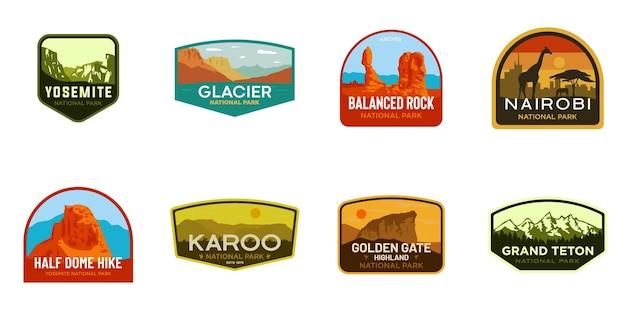 Satz von nationalpark-logo-abzeichen-illustrationen