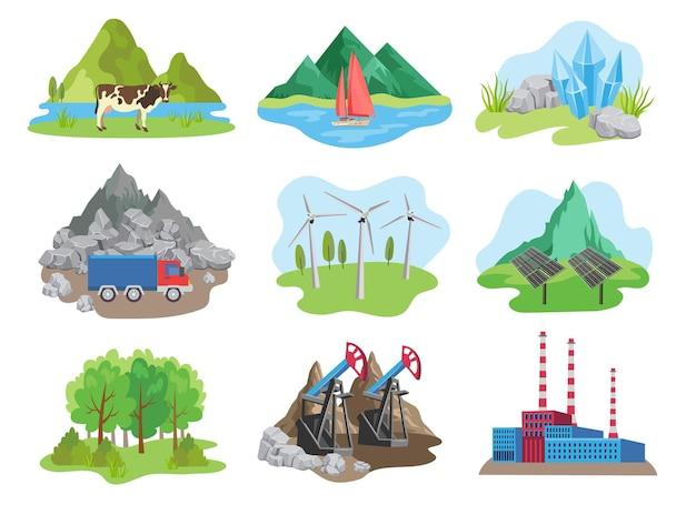 Satz von natürlichen ressourcen-cartoon-illustration