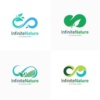 Satz von natur-blatt-landwirtschaft-logo-designs-konzept-vektor, infinity-blatt-natur-logo-symbol
