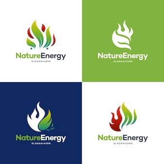 Satz von natur-energie-logo-design-konzept-vektor-vorlage. blatt mit feuerflammentropfenform logo-konzept-symbol