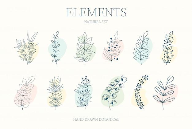 Satz von nerd-elementen mit kreisen verschiedener farben auf einem isolierten hintergrund. tropische pflanzen, blätter und zweige mit blüten. hand gezeichneter stil. zum bedrucken von stoff und kleidung,