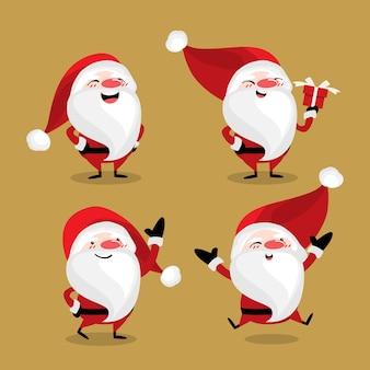 Satz von netten santa claus für weihnachtsferienzeit.