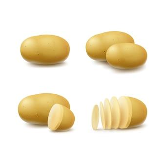 Satz von neuen gelben rohen ganzen und geschnittenen kartoffeln schließen oben isoliert auf weiß