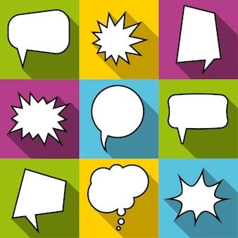 Satz von neun comic-ballon-sprechblasen im flachen stil. elemente von design-comics ohne phrasen. vektor-illustration