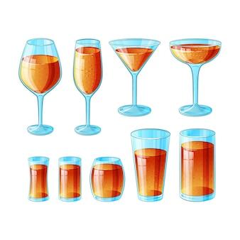 Satz von neun handgezeichneten gläsern mit langen alkoholcocktails