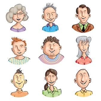 Satz von neun lächelnden karikaturgesichtern