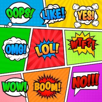 Satz von neun verschiedenen, bunten aufklebern am bunten comic-hintergrund. pop-arten-spracheblasen mit lol, wie, boom, wow, wtf, nein, omg, oops, ja.
