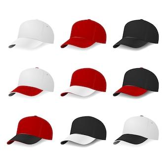 Satz von neun zweifarbigen baseballmützen mit weißen, roten und schwarzen farben lokalisiert auf weißem hintergrund. illustration.